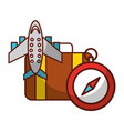 airplane suitcase and compass travel vacations vector image vector image