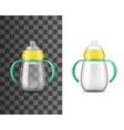 babottle milk feeding realistic mockup vector image vector image