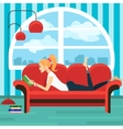 Beautiful young woman reading book on sofa vector image