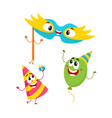 birthday item characters - hat balloon mask vector image vector image