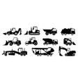 black construction trucks heavy industrial vector image