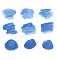 Blue watercolor stains set vector image