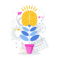 brain grows in a flower pot like a plant vector image vector image