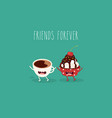 breakfast funny characters coffee croissant vector image vector image