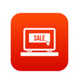button sale on laptop icon digital red vector image vector image