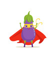 cartoon character of superhero eggplant with hands vector image