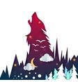 cartoon night landscape wolf vector image vector image
