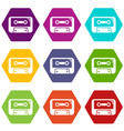cassete tape icons set 9 vector image vector image