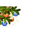 christmas card with fir-tree and decoration isolat vector image vector image