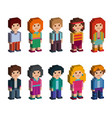 Collection of cute isometric characters vector image