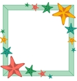 Decorative frame with cartoon starfishes vector image vector image