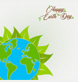 earth day card of green planet with leaf vector image vector image