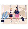 elderly couple tourist going on terminal vector image vector image
