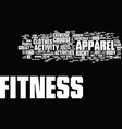 fitness equipment apparel text background word vector image vector image