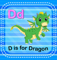 flashcard letter d is for dragon vector image