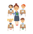 flat children sitting at desk teacher set vector image