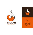 fox tail logo element icon fox tail fire logo vector image