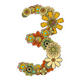 Hand Drawn Floral Number 3 vector image vector image