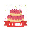 happy birthday card with sweet cake and ribbon vector image