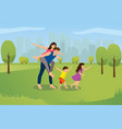 happy family playing in city park cartoon vector image