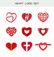 heart logo set red symbols icon vector image