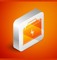 isometric car battery icon isolated on orange vector image vector image