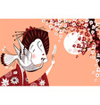 Japanese woman in traditional clothes with bird vector image vector image
