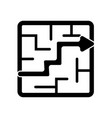 labyrinth with an arrow pointing the way out icon vector image