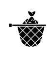 landing net black glyph icon vector image