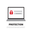 laptop computer enter password data protection and vector image