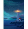 lighthouse in night sea vector image