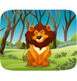 lion sitting in the woods vector image vector image