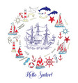 nautical background with sailing vessels vector image vector image