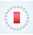 pearl necklace with red label vector image vector image