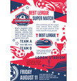 poster for football or soccer match vector image vector image