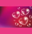 realistic soap bubbles heart-shaped drops of vector image vector image