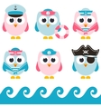 set of sailor owls vector image vector image