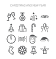 Set of simple icons for New Year and Christmas vector image vector image