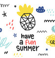 summer doodle poster with phrase vector image vector image