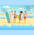 summer travellers male and female happy people vector image