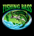 t-shirt design finishing bass fish vector image vector image
