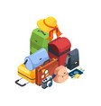 travel luggage airport bags collection 3d vector image