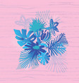 tropical flower composition duotone style vector image vector image