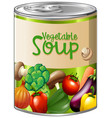 vegetable soup in aluminum can vector image