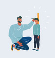 young man measuring his sons height vector image vector image