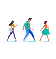 young woman and man walking go on business vector image vector image