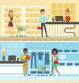 groups of funny and happy people make shopping in vector image