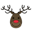 white background with face of reindeer with red vector image