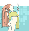 Woman combing hair in her bathroom vector image