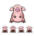 ute cartoon pigs set vector image